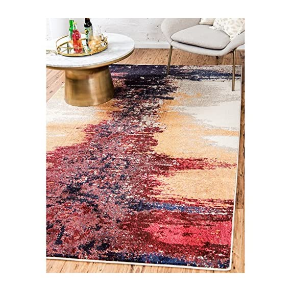 Unique Loom Estrella Collection Modern Abstract Orange Area Rug (3' 3 x 5' 3) - This rug is perfect for those high traffic areas in your home. It's also kid and pet friendly! This rug is water resistant, mold and mildew resistant, stain resistant, and does not shed. Cleaning Instructions: As long as it's a short-pile, indoor rug, we recommend spot cleaning with resolve, and regular vacuuming is recommended. You can use a carpet cleaner (shampooer) but it should be dried immediately and evenly. - living-room-soft-furnishings, living-room, area-rugs - 61D76uXxw1L. SS570  -