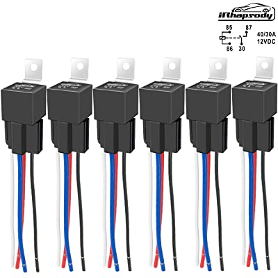 IRHAPSODY 4 Pin 40/30 AMP 12 V DC Relay and Harness - Heavy Duty 12 AWG Tinned Copper Wires, Bosch Style SPST Automotive Relay: Automotive