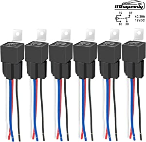 IRHAPSODY 4 Pin 40/30 AMP 12 V DC Relay and Harness - Heavy Duty 12 AWG Tinned Copper Wires, Bosch Style SPST Automotive Relay