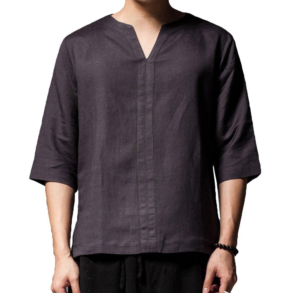 Maglietta Casual da Uomo in Lino Retro 3/4 Losse Fit Piccola Maglietta con Scollo a V, 5 Colori (Asian M-2XL)