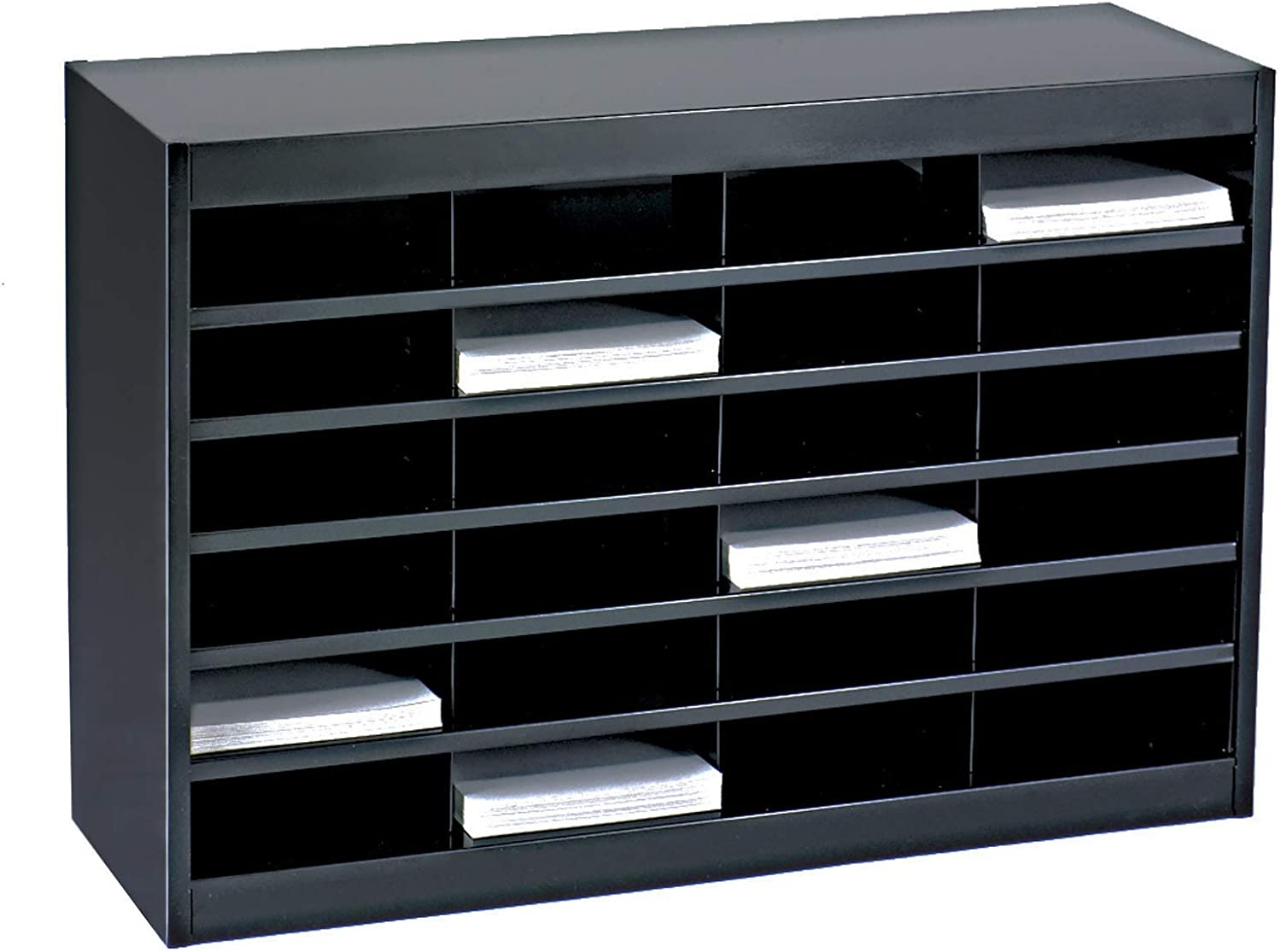 Safco Products E-Z Stor Literature Organizer, 24 Compartment, 9211BLR, Black Powder Coat Finish, Commercial-Grade Steel Construction, Eco-Friendly