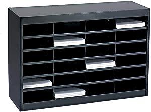 Safco Products E-Z Stor Literature Organizer, 24 Compartment, 9211BLR, Black Powder Coat Finish, Commercial-Grade Steel Construction, Eco-Friendly