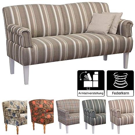 Cavadore 3-Sitzer Sofa Pasle mit Federkern für Küche, Esszimmer /  Küchensofa, Essbank im modernen Landhausstil / verstellbare Armlehnen /  Holzfüße ...