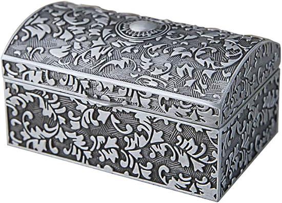 JinYiny Joyero de Metal Vintage, Caja de Almacenamiento de joyería de baratija pequeña para Anillos Pendientes Collar Cofre del Tesoro Organizador de Joyas Antiguas Caja de Regalo: Amazon.es: Joyería