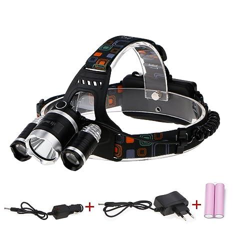 Linterna Frontal LED, ThorFire HL318 Linterna Cabeza 900 Lumen con Baterias y Cargadores, Luz Hasta 150 Metros, Hasta 12 horas en Modo Bajo, para ...