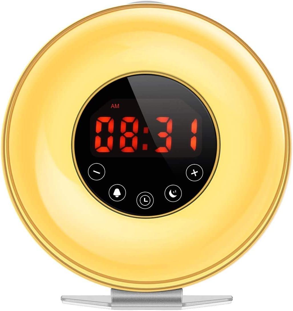 Wake Up Light, Nature Light Sunrise Simulation Alarm Clock, Lámpara De Atmósfera De 5 Colores, Lámpara De Mesilla De Noche De 3 Brillos Y Radio FM para Niños Adultos
