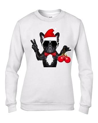 French Bulldog Christmas Jumper.Tribal T Shirts French Bulldog With Christmas Baubles