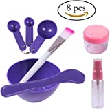 Teenitor Lady Facial Care Mask Facemask Mixing Tool Sets, Bowl Stick Brush Gauge 8 in 1 Set Purple