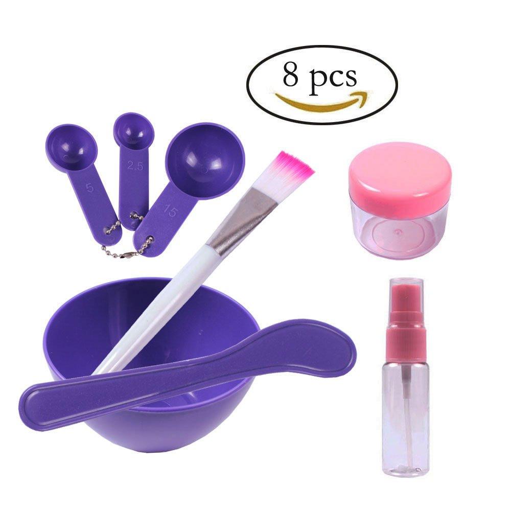 Teenitor Lady Facial Care Mask Facemask Mixing Tool Sets, Bowl Stick Brush Gauge 8 in 1 Set Purple