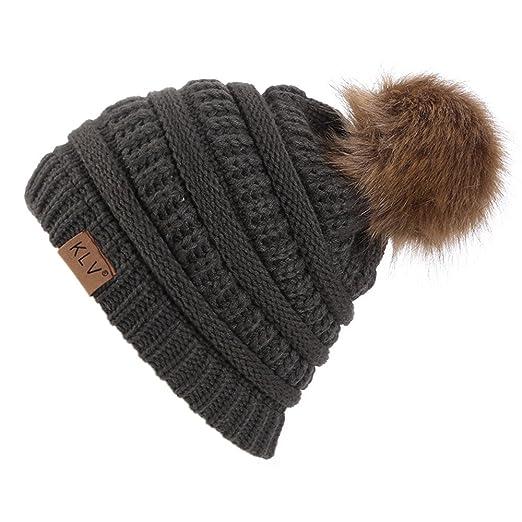 004138eeaa2 Mnyycxen Women Winter Pom Pom Beanie Hat with Warm Fleece Lined ...