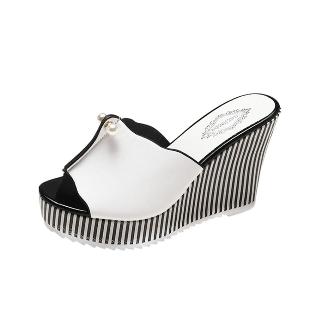 Goodtrade8 Pearl Platform Wedges Sandals for Women, Fish Mouth Slippers Bohemia Flip-Flops High Heels Sandal Shoes (Size 5, White)