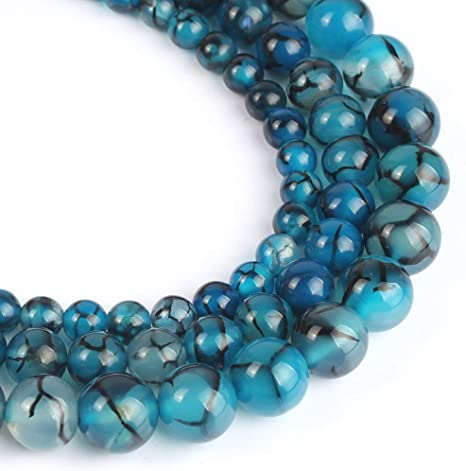 "Natural 8mm Round Light BLUE Dragon veins Agate Gems Loose Beads 15/"""