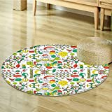 Area Silky Smooth Rugs Science Lab Objects Doodle Like Style Sketches Back To School Theme Print Home Decor Area Rug-Round 47''