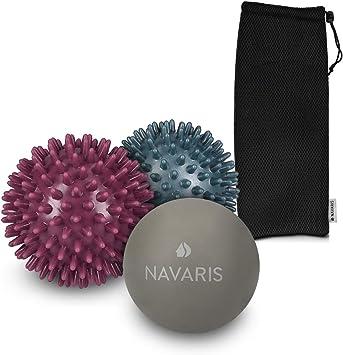 Navaris Set de 3 Bolas de Masaje - 2X Bolas con Pinchos y 1x Bola ...