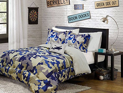 (Linen Plus Full Size 8pc Comforter Set for Teen Kids Camouflage Army Beige Blue Taupe New)