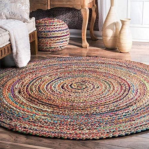 Indian Round Braided Floor Rug Boho Reversible Yoga Mat Handmade Cotton Rugs