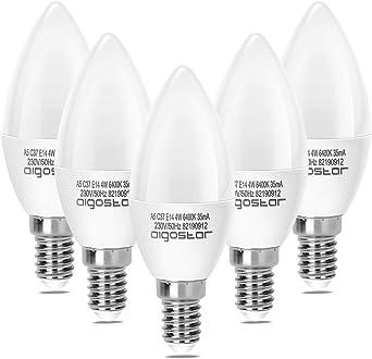 Aigostar - Pack de 5 Bombillas LED A5 C37 vela, 4W, casquillo fino ...