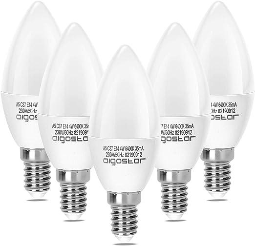 Aigostar - Pack de 5 Bombillas LED A5 C37 vela, 4W, casquillo fino E14, 340lm, luz blanca 6400k[Clase de eficiencia energética A+]: Amazon.es: Iluminación