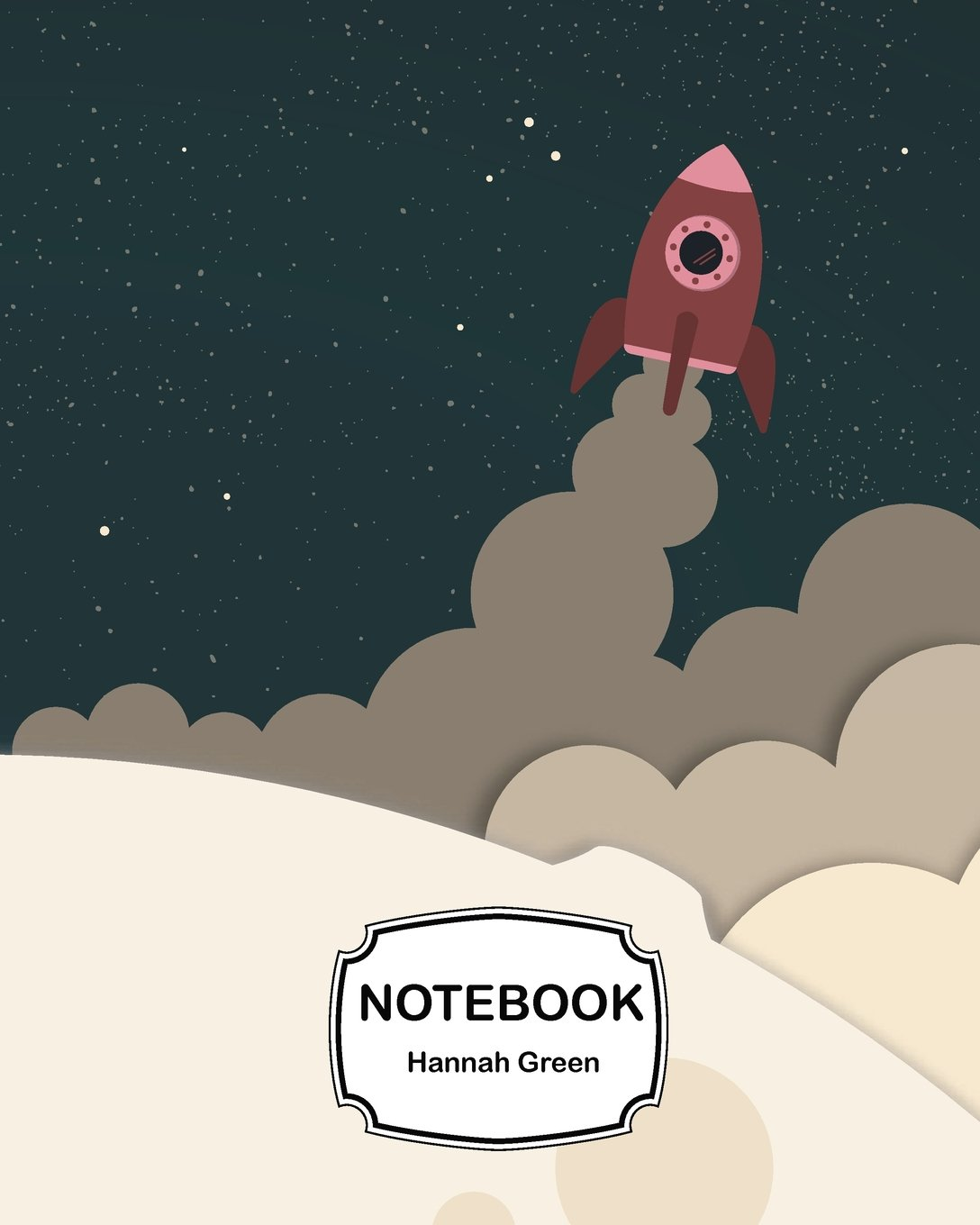 """Notebook: Hand drawn astronaut with rocket on the moon background: Journal Dot-Grid, Grid, Lined, Blank No Lined: Book: Pocket Notebook Journal Diary, 120 pages, 8"""" x 10"""" PDF"""