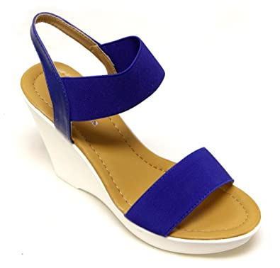 d8ee57abad4eb Top Moda CP-52 Women's Platform Wedge Heel Single Canvas Band Slingback  Ankle Strap Sandals