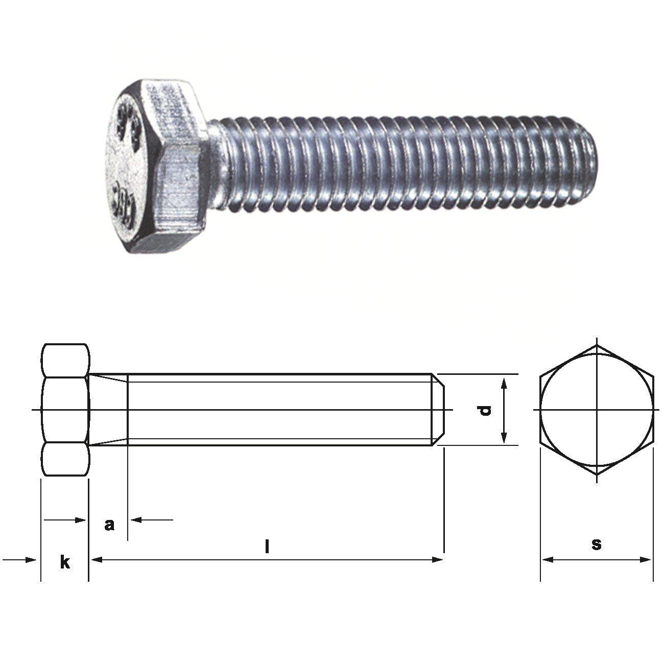 verzinkt 50 St/ück, M 12 x 70 galv Dresselhaus 0//0222//001//12,0//70// //01 Sechskantschrauben 8.8 mit Gewinde bis Kopf DIN 933