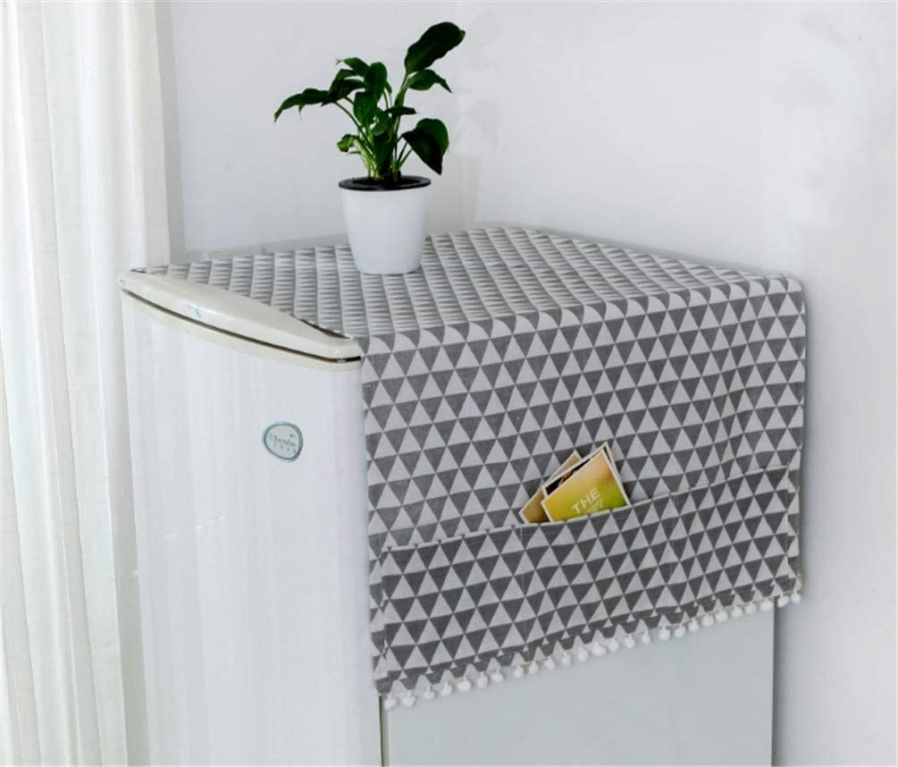 Mvchif Washing Machine Cover Dustproof Cotton Fridge Cover Decorative Top Load Cover with Side Storage Pockets 51x22inches (Gray Triangle)