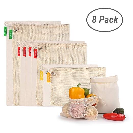 Hinyx bolsas reutilizables de algodón, bolsas de malla de ...