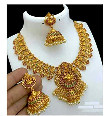 Buy Prettypurple Matte Finish Golden Gold Plated Laxmi Necklace With Earring Set For Women At Amazon In