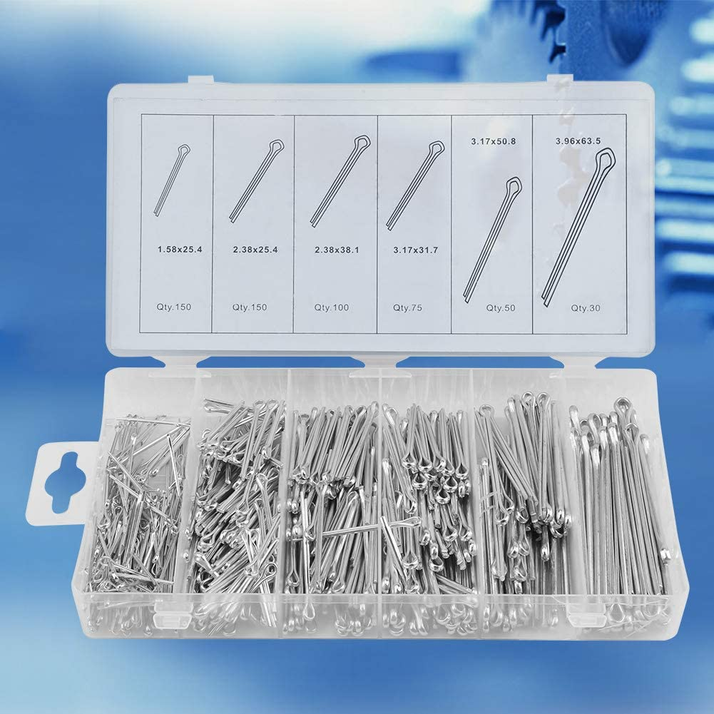 SANON 555pc//set Cotter Pins Mechanical Hitch Hair Tractor Fastener Clip Kit with Case for Use on Hitch Pin Lock System