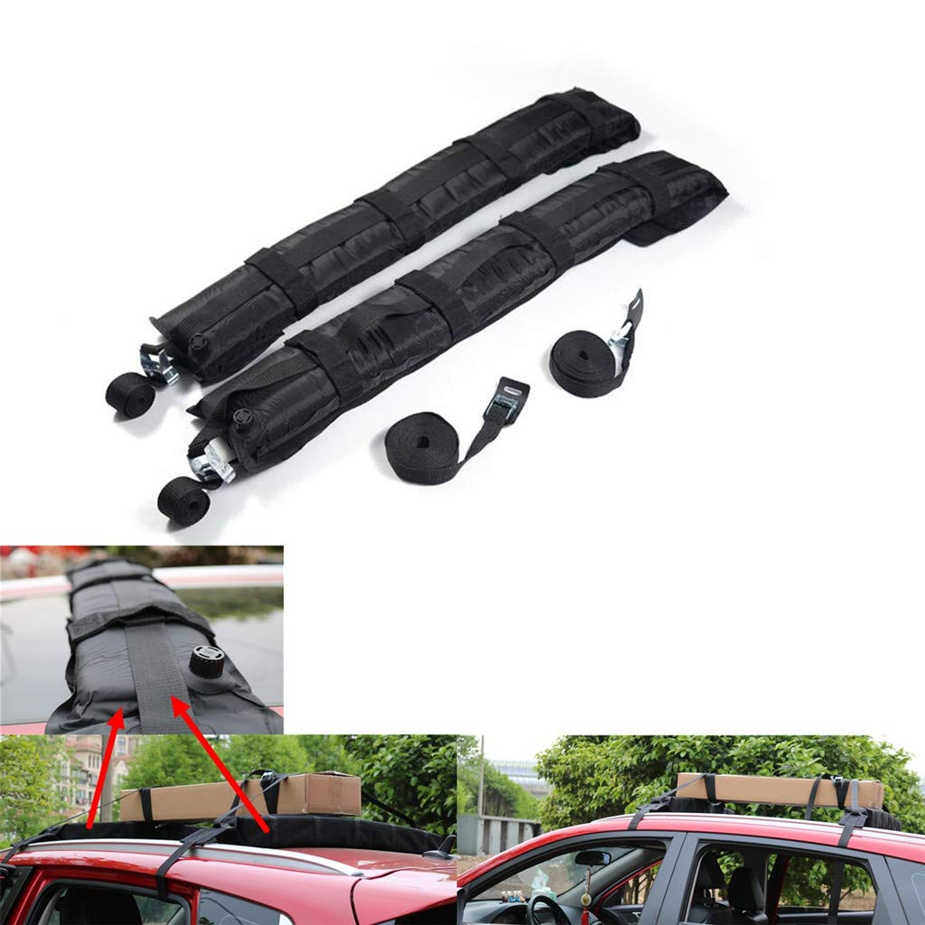 Roof Rack Pads for Car Inflatable Padded Crossbar Roof Cover Luggage Carrier Adjustable Surfboard Kayak Snowboard Racks 36 Inch Long 180 LB Capacity (2 Roof Rack & Rope)