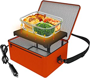 Portable Oven, 12V Car Food Warmer Portable Personal Mini Oven Electric Heated Lunch Box for Meals Reheating & Raw Food Cooking for Road Trip/Camping/Picnic/Family Gathering(Orange)