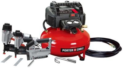 Porter-Cable 6 Gal. Portable Air Compressor, 16-Gauge Nailer, 18-Gauge Brad Nailer Crown Stapler Combo Kit-PCFP12234 - The Home Depot