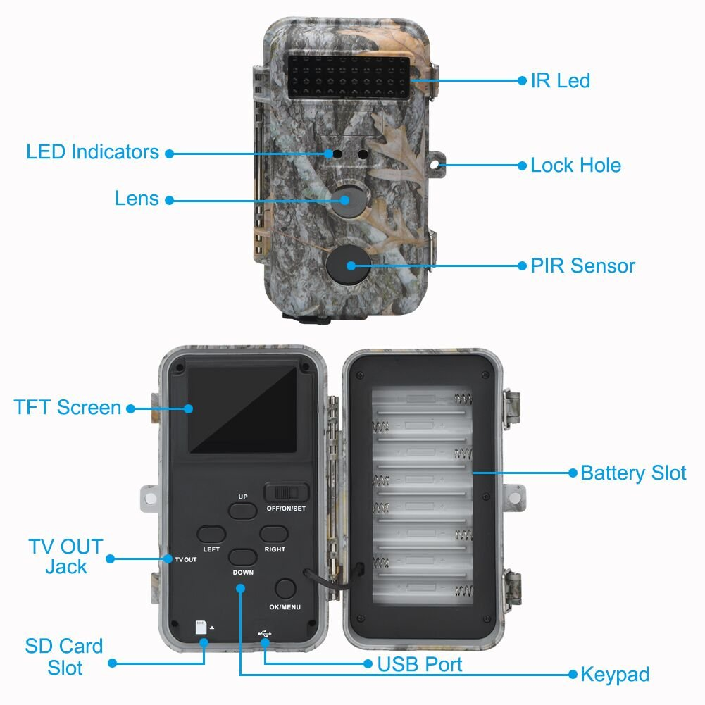 DigitNow! 16MP 1080 HD Waterproof Trail &Surveillance Digital Camera with Infrared Night Version up to 65ft in 2.4''LCD Screen &40pcs IR LEDs Wildlife Hunting &Scouting Camera by DIGITNOW (Image #3)