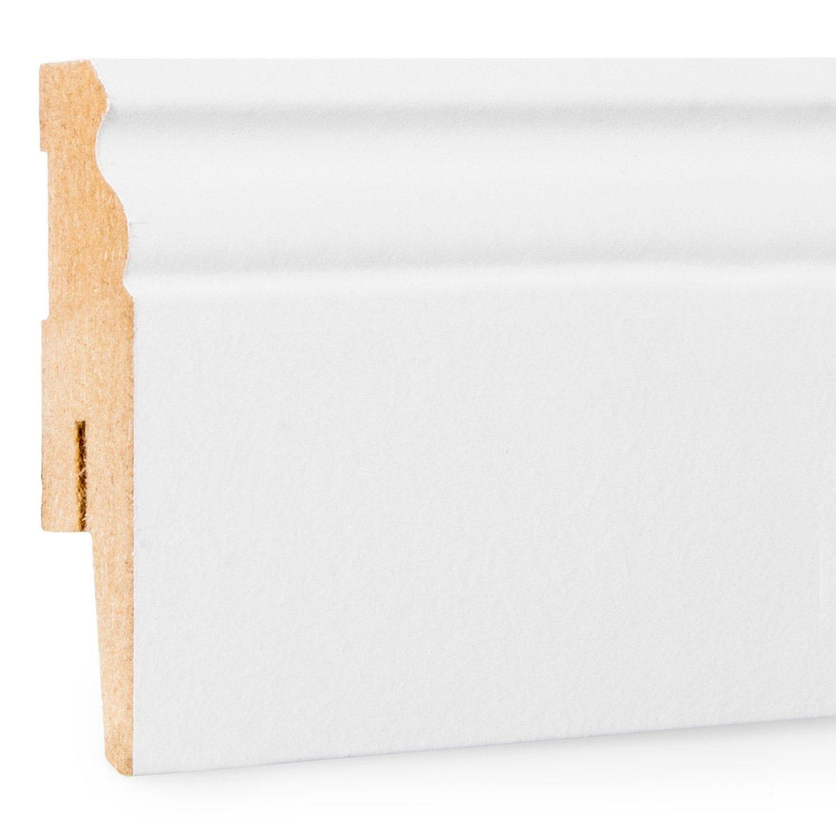 10x HOLZBRINK Rodapié  de Acabado del Suelo MDF Perfil Tipo Hamburgo Blanco Rodapié de Acabado del suelo Decorativo D1 100x15 mm 200 cm Jumbo Shop