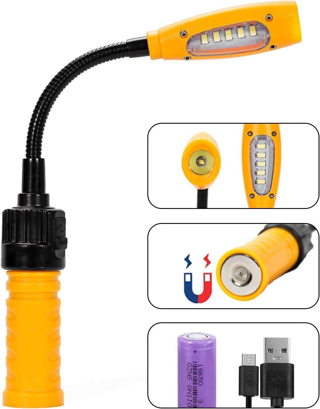 Elusefor Bright Cordless Work Light Usb Rechargeable Cob Led