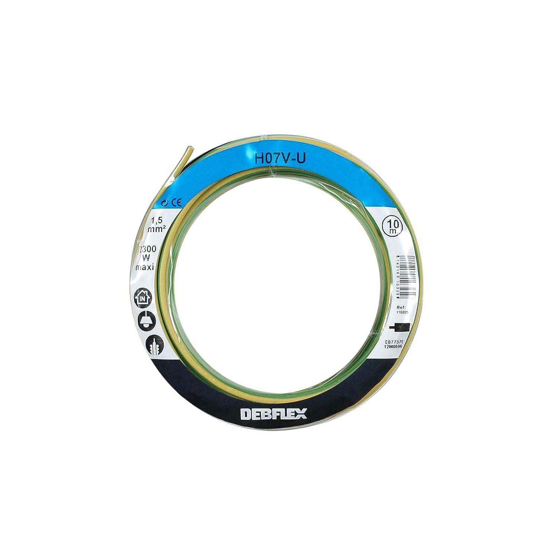 BOBINOT CABLE RIGIDE 10M HO7V-U 1,5mm/² JAUNE//VERT