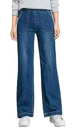 picked up search for original unequal in performance Sayhi Women Washed Distressed High Waist Straight Flare ...