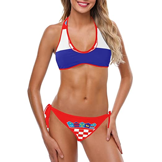 InterestPrinrt Bikini Personalizado Halter Lateral Corbata ...