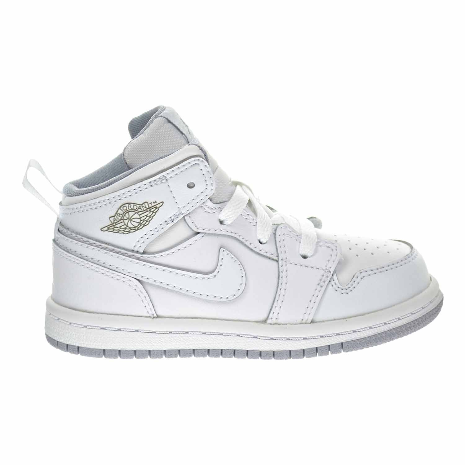 Jordan 1 Mid BT Todder's Shoes White/Wolf Grey 640735-112 (10 M US)