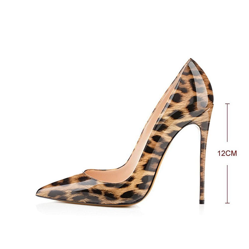 Modemoven Women's Pointy Toe High Heels Slip On Stilettos Large Pumps Size Wedding Party Evening Pumps Large Shoes B072FJ74H8 10.5 B(M) US|Brown Leopard f9d9ab