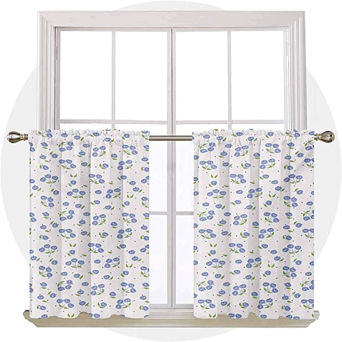 Amazon Com Carmaxs Floral Window Valances Vintage Rose Flowers Bouquets Spring Season Theme Dots Green Leaves 54 X 18 Violet Blue Green White Home Kitchen