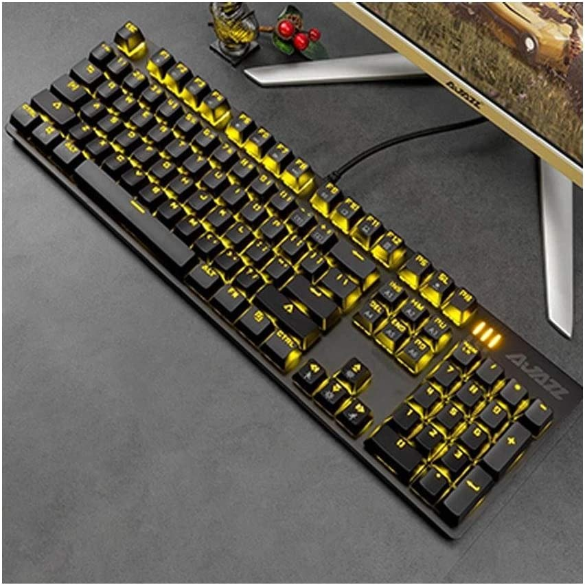 XIAONINGMENG Game Real Mechanical Keyboard Green Axis Black Axis Red Axis Tea Axis Desktop Computer Notebook Esports Wired 104 Key LOL Peripheral Dedicated Keyboard Computer Accessories Color : C