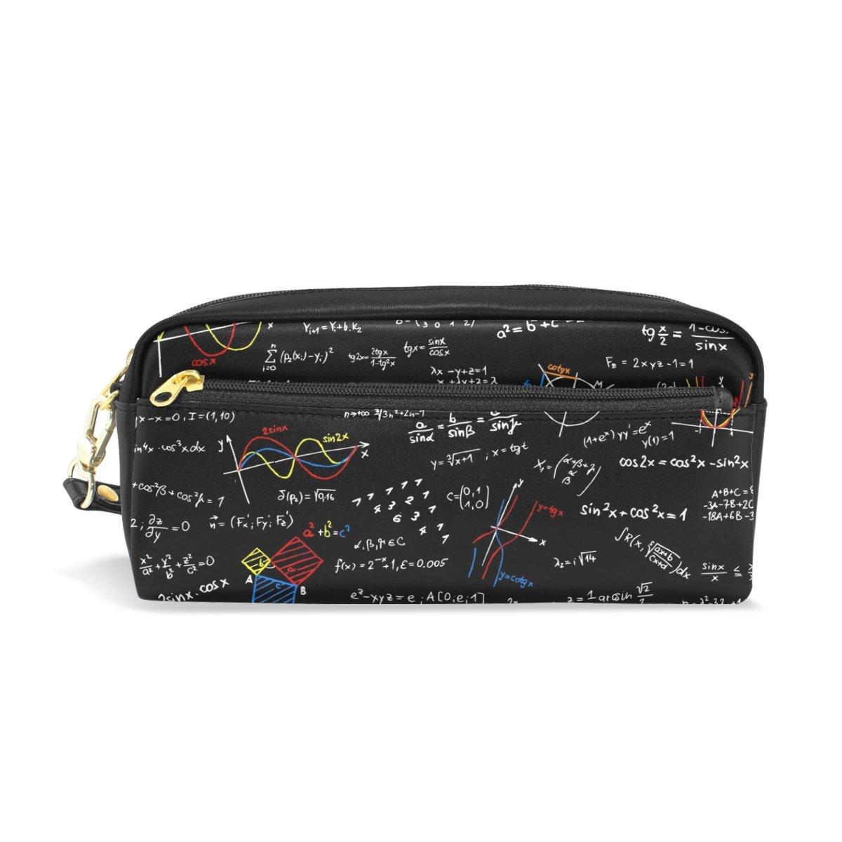 FENNEN Math Formula Leather Student Kawaii Cute Pen Pencil Case Holder Women Cosmetic Bag Makeup Pouch Gift for Girls Boys