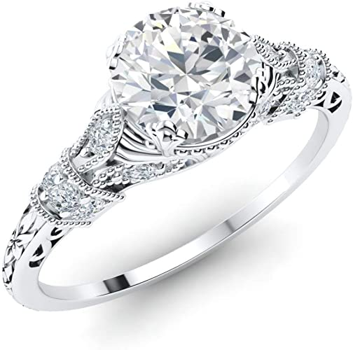 US Size 4 to 9 Diamondere Natural and Certified Diamond Channel Wedding Ring in 10K White Gold 0.5 Carat Diamond Wedding Band for Women