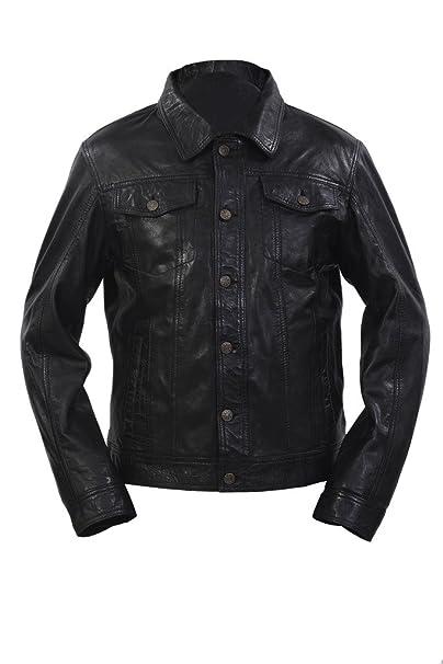 camicia jeans uomo giacca pelle