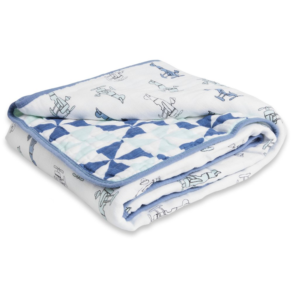 Aden by Aden + Anais Muslin Blanket, 100% Cotton Muslin, 4 Layer Lightweight and Breathable, Large 44 X 44 inch, Sky High by aden + anais