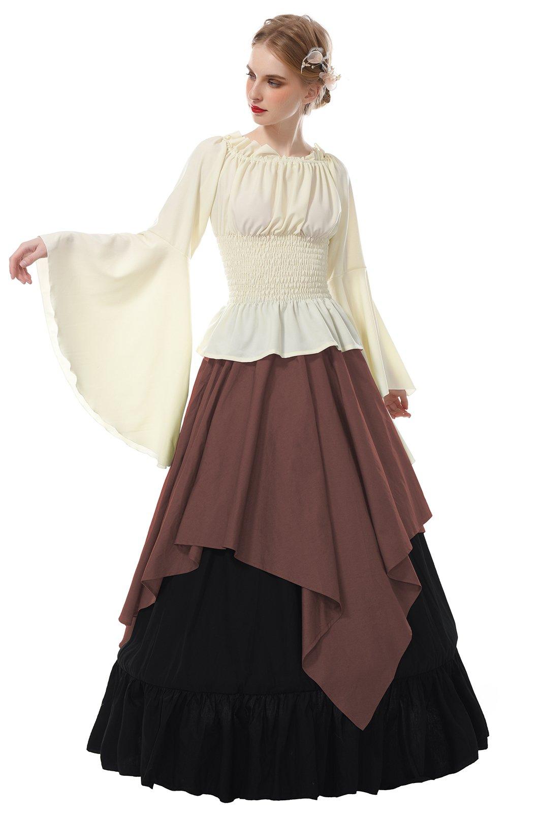 b04dc5306d0b Galleon - ROLECOS Womens Renaissance Medieval Costume Trumpet Sleeve  Peasant Shirt And Skirt Coffee XXL