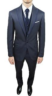 Abito da sposo uomo Fb Class sartoriale blu notte vestito completo con gilet  e cravatta qualità e19c7fef692