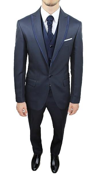 Abito da sposo completo uomo FB CLASS sartoriale blu notte vestito gilet e  cravatta 100% 367aae62193