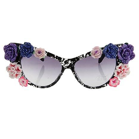 Cvbndfe - Gafas de Sol para Mujer, diseño de Flores, Hechas ...